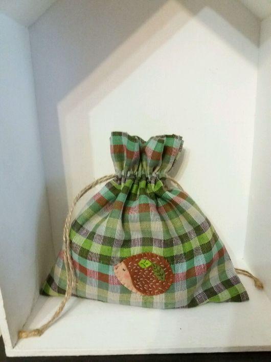 Детская ручной работы. Ярмарка Мастеров - ручная работа. Купить Мешочек для хранения с аппликацией. Из льна из хлопка. Handmade.