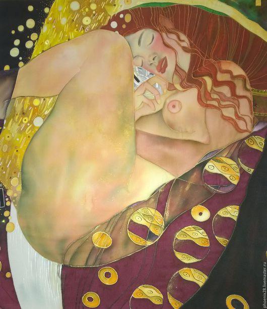 """Ню ручной работы. Ярмарка Мастеров - ручная работа. Купить Батик, копия картины Густава Климта """"Даная"""", картина на шёлке. Handmade."""
