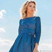 """Платья ручной работы. Ярмарка Мастеров - ручная работа Льняное платье """"Красота простых линий"""" (синие оттенки). Handmade."""