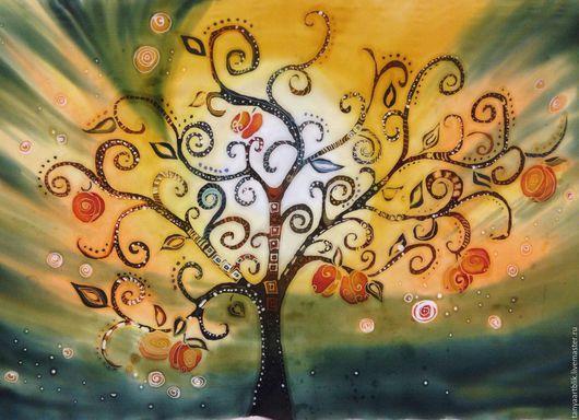 На заказ,батик панно, палантин,парео,натуральные ткани,натуральный шелк,выполнено в технике горячий батик,дерево,необычный рисунок
