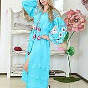 Одежда handmade. Livemaster - original item Direct dress turquoise with embroidery. Handmade.
