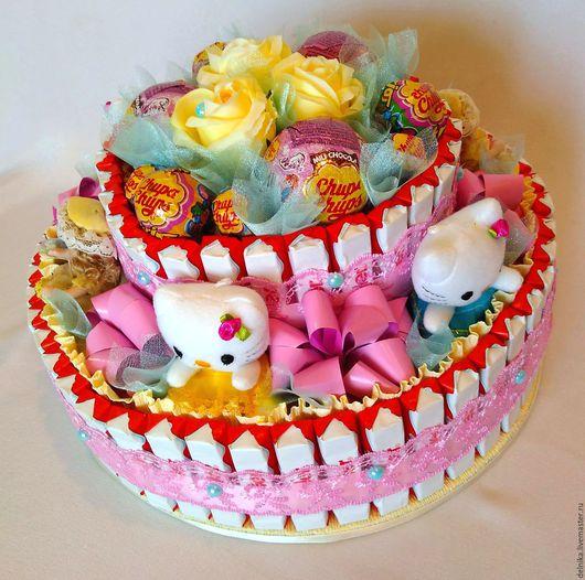 Торт на день рождения, день рождения девочки,  подарок девочке,  подарок девушке, вкусный подарок, подарок из конфет, Ярмарка мастеров, ручная работа.
