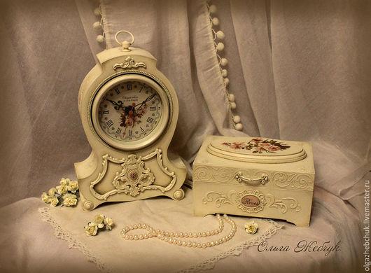 """Часы для дома ручной работы. Ярмарка Мастеров - ручная работа. Купить Интерьерный набор """" Время нежности """". Handmade."""