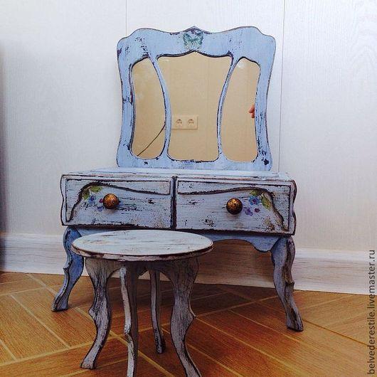 Кукольный дом ручной работы. Ярмарка Мастеров - ручная работа. Купить Туалетный столик мини с зеркалом- трельяж. Handmade. Васильковый
