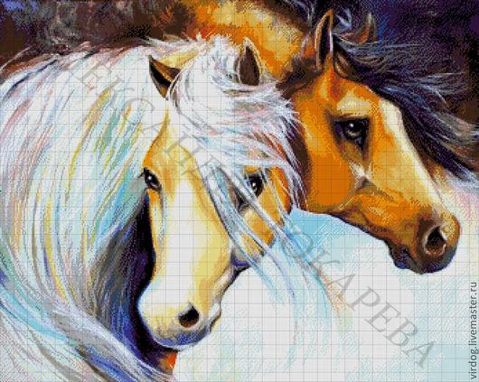 """Вышивка ручной работы. Ярмарка Мастеров - ручная работа. Купить НАБОР ДЛЯ ВЫШИВКИ БИСЕРОМ """" Пара лошадей"""". Handmade."""