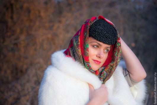 Шляпы ручной работы. Ярмарка Мастеров - ручная работа. Купить Шляпа таблетка из каракуля. Handmade. Черный, каракулевая шляпа