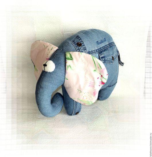 Текстиль, ковры ручной работы. Ярмарка Мастеров - ручная работа. Купить Джинсовый Слон подушка. Handmade. Слон, подушка джинсовая