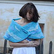 """Одежда ручной работы. Ярмарка Мастеров - ручная работа Жилет-трансформер """"Ветер странствий"""" голубой белый бирюзовый. Handmade."""