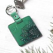 Аксессуары ручной работы. Ярмарка Мастеров - ручная работа Брелок для ключей, брелок для сумки из кожи Зеленый Цветок. Handmade.