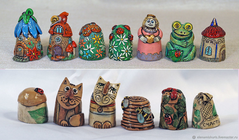 Миниатюрные модели ручной работы. Ярмарка Мастеров - ручная работа. Купить Коллекционные напёрстки. Handmade. Керамика, авторская керамика