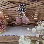 """Украшения ручной работы. Ярмарка Мастеров - ручная работа Серьги из родонита """" Аромат роз"""".. Handmade."""