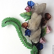 "Brooches manualidades. Livemaster - hecho a mano Brooch of the beads with amethyst ""Bouquet (Wildflowers)"". Handmade."