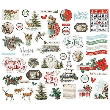 Материалы для творчества ручной работы. Ярмарка Мастеров - ручная работа Набор высечек Country Christmas Bits & Pieces Die-Cuts 49 шт. Handmade.