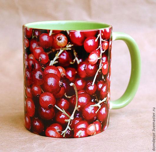 """Кружки и чашки ручной работы. Ярмарка Мастеров - ручная работа. Купить Чашка """"Красная смородина"""". Handmade. Салатовый, бордовый, для кухни"""