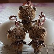 """Мягкие игрушки ручной работы. Ярмарка Мастеров - ручная работа Вязаные медвежата """"Шоколадки"""". Handmade."""