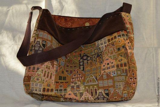 Женские сумки ручной работы. Ярмарка Мастеров - ручная работа. Купить Сумка из бархата и гобелена. Handmade. Разноцветный, старый город