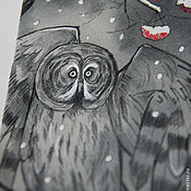 Аксессуары ручной работы. Ярмарка Мастеров - ручная работа Совы нежные - шелковый галстук с ручной росписью. Handmade.