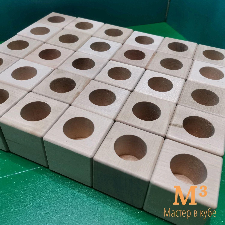 Деревянный кубик с отверстием, Природные материалы, Иглино,  Фото №1