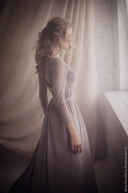 Платья ручной работы. Ярмарка Мастеров - ручная работа. Купить Платье. Handmade. Бежевый, элегантность, гипюр