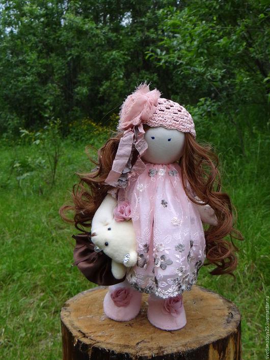 кукла интерьерная кукла текстильная шебби шик шебби декор  кукла с длинными волосами шатенка кудрявые волосы тильда кукла в подарок