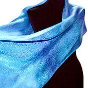 Аксессуары handmade. Livemaster - original item Lilac blue silk scarf stole, jacquard Paisley. Handmade.
