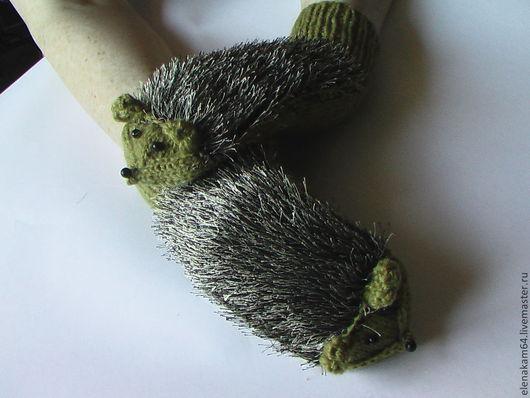 Варежки, митенки, перчатки ручной работы. Ярмарка Мастеров - ручная работа. Купить варежки вязаные, ежовые рукавицы. Handmade. Варежки