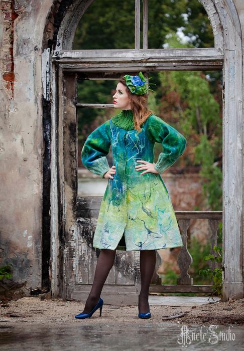 """Верхняя одежда ручной работы. Ярмарка Мастеров - ручная работа. Купить Валяное пальто """"Лето Ренуара"""". Handmade. Ренуар, зеленый"""