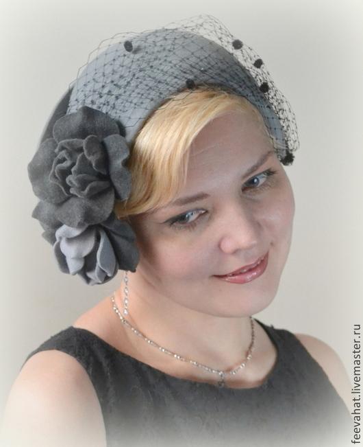 """Шляпы ручной работы. Ярмарка Мастеров - ручная работа. Купить Ретро-коллекция. Шляпка """"Зоя"""". Handmade. Серый, серая шляпа"""