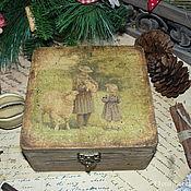 """Для дома и интерьера ручной работы. Ярмарка Мастеров - ручная работа """"Девочка с овечкой"""" шкатулка. Handmade."""