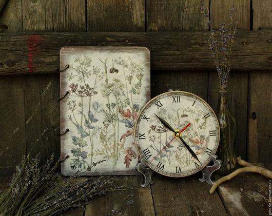 """Кухня ручной работы. Ярмарка Мастеров - ручная работа. Купить Часы и блокнот """"Ботаника"""". Handmade. Серый, часы на подставке, краснодар"""