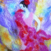 Картины и панно ручной работы. Ярмарка Мастеров - ручная работа шерстяная акварель Фламенко. Handmade.