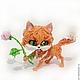 """Игрушки животные, ручной работы. Ярмарка Мастеров - ручная работа. Купить Фигурка """"Апельсиновый котёнок"""" (рыжая кошка с розой). Handmade."""