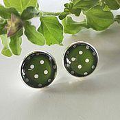 Украшения handmade. Livemaster - original item Earrings silver plated Pea green. Handmade.