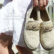 Обувь ручной работы handmade. Livemaster - original item Shoes linen embroidered women`s. Handmade.