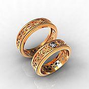 handmade. Livemaster - original item Paired Wedding Rings with patterns, gold (Ob54). Handmade.