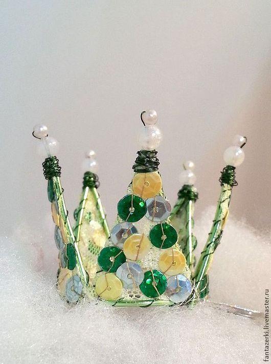 Заколки ручной работы. Ярмарка Мастеров - ручная работа. Купить Корона с паетками. Handmade. Салатовый, Новый Год, корона для принцессы