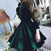 Одежда ручной работы. Ярмарка Мастеров - ручная работа Бархатное платье изумрудное. Handmade.