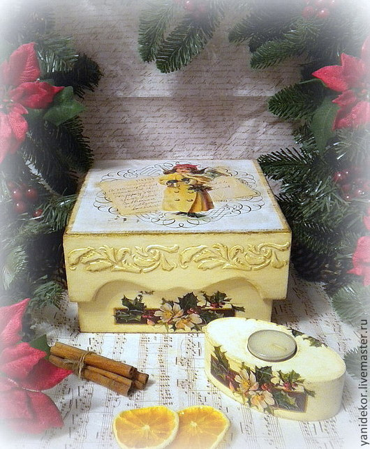 Шкатулка для чая и подсвечник Рождественское письмо.Короб для чая. Короб для сладостей. Подсвечник декупаж. Подарок на Новый Год.Шкатулка чайная декупаж.Шкатулка для чая.Чайная шкатулка новогодняя