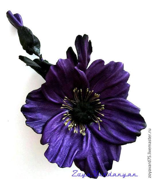 """Цветы ручной работы. Ярмарка Мастеров - ручная работа. Купить МАКИ """"ВИОЛЕТ"""" ИЗ КОЖИ. Handmade. Тёмно-фиолетовый, замша"""