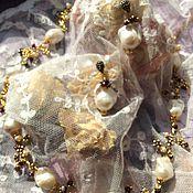 """Украшения ручной работы. Ярмарка Мастеров - ручная работа Колье,ожерелье """"Сказочное"""",серьги,жемчуг барокко,позолота,гранат.. Handmade."""