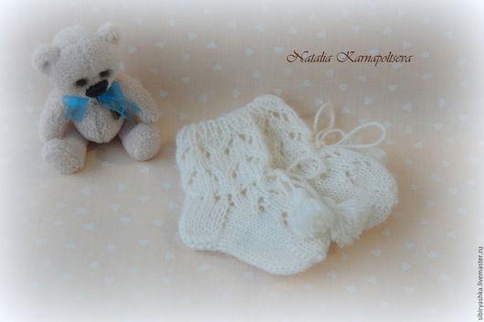 """Для новорожденных, ручной работы. Ярмарка Мастеров - ручная работа. Купить Ажурные носочки для новорожденного """"Бэби-бум"""". Handmade. Белый"""