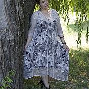 Платья ручной работы. Ярмарка Мастеров - ручная работа Серебристое ажурное платье. Handmade.