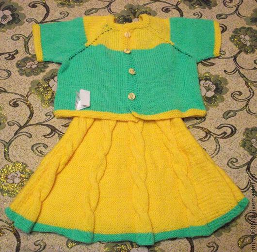 Одежда для девочек, ручной работы. Ярмарка Мастеров - ручная работа. Купить Вязаный комплект для девочки: жакет и сарафан. Handmade. Абстрактный