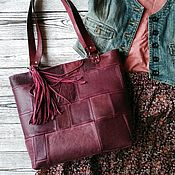 Сумки и аксессуары handmade. Livemaster - original item Boho style genuine leather crossbody shopper bag. Handmade.