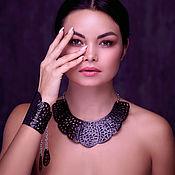 Украшения handmade. Livemaster - original item Leather necklace and leather bracelet Black openwork. Handmade.