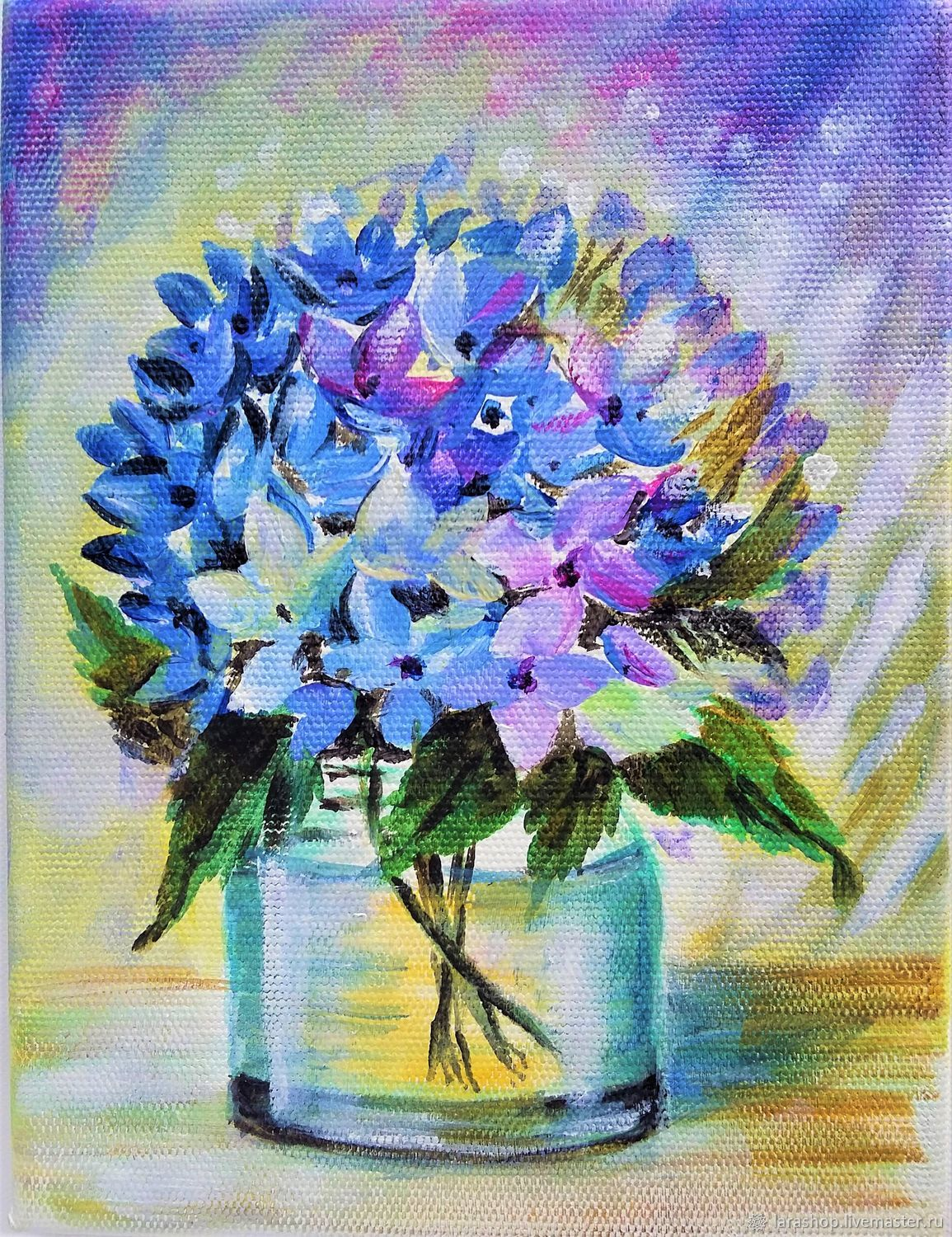 Small oil painting still life with flowers Blue hydrangea Flower, Pictures, Moscow,  Фото №1