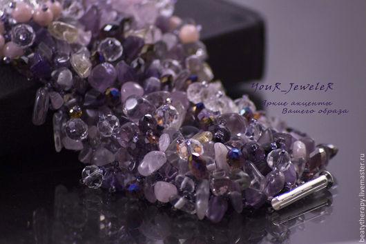 Браслеты ручной работы. Ярмарка Мастеров - ручная работа. Купить Фиолетовый браслет из натуральных камней Perple Avalanche. Handmade. Фиолетовый