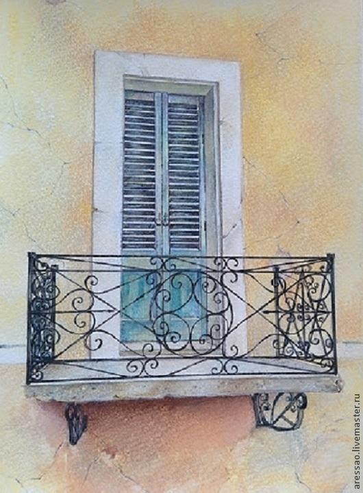 """Город ручной работы. Ярмарка Мастеров - ручная работа. Купить Картина """"Балкончик"""". Handmade. Разноцветный, дом, окно, голубой, синий"""