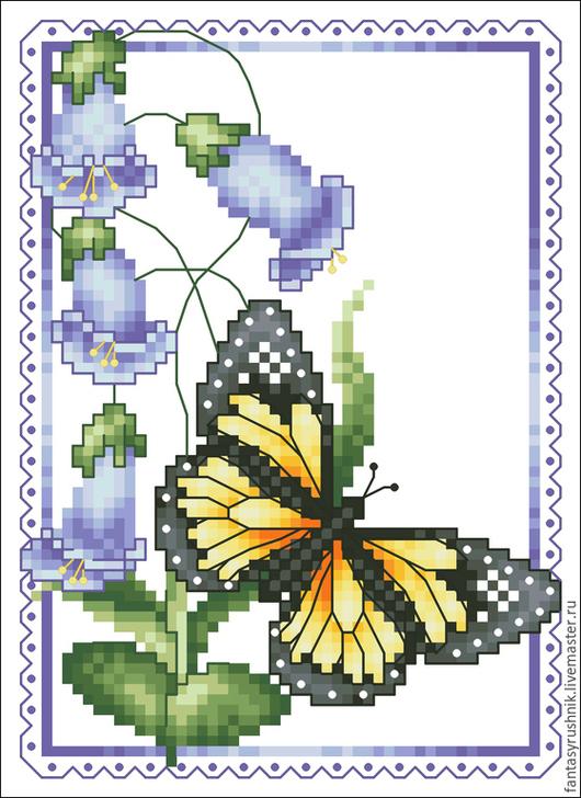 """Вышивка ручной работы. Ярмарка Мастеров - ручная работа. Купить Дизайн машинной вышивки """"Бабочка и колокольчики"""", формат EXP,ART. Handmade."""