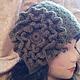 Повязка на голову, шерсть,   цветок,оливковый цвет